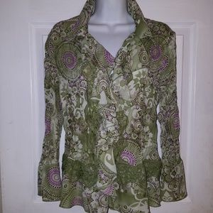 Dressbarn Ruffled Lace Crinkled Blouse Top